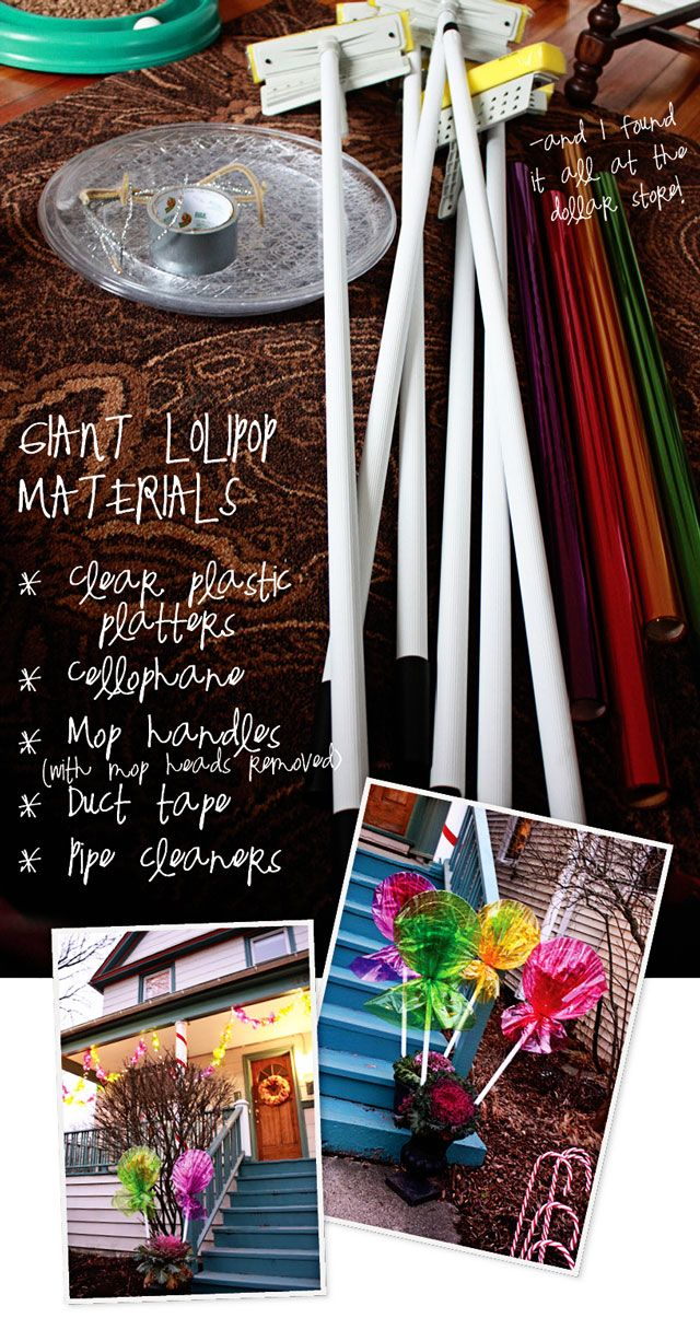 Materials for giant lollipops. Aunt Peaches: Candyland. Sorta.