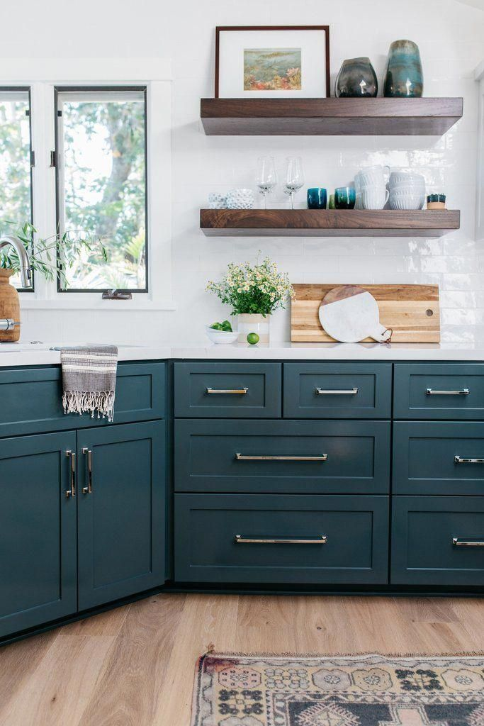 Kitchen Design with dark lower cabinets and open shelving ...