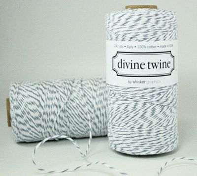 Twine, Oyster Gray Divine Twine, Grey Bakers Twine, Cord, Ribbon, Wedding, Striped Cotton String, Birthday, Gift Wrapping, Scrapbook. $15.00, via Etsy.