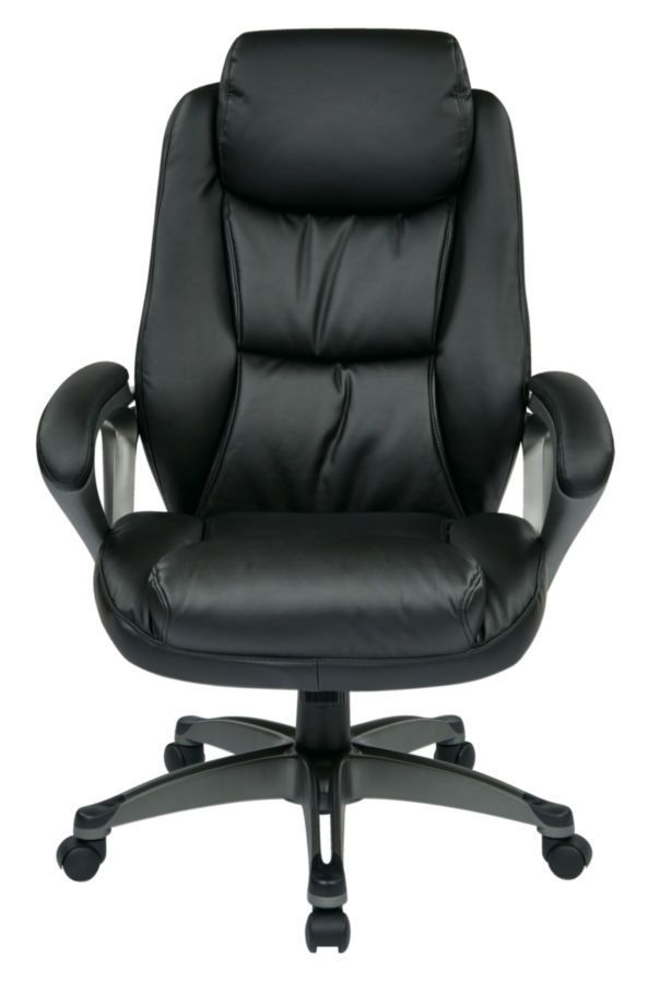 Executive Bonded Leather Chair With Padded Arms Headrest And Coated Base Featuring Coil Spring Seating Comfort