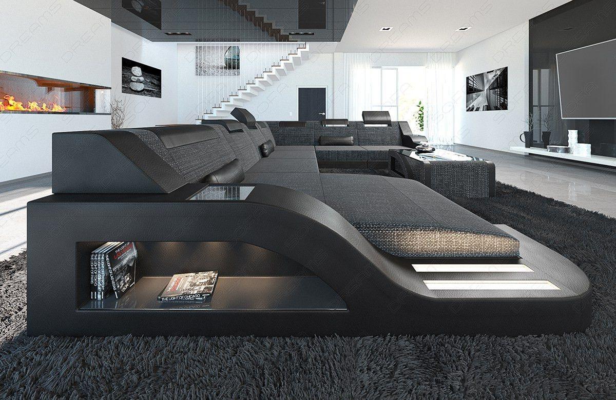 Fabric Sofa Detroit Xl Shape Led Modern Sofa Living Room Sofa Design Leather Corner Sofa