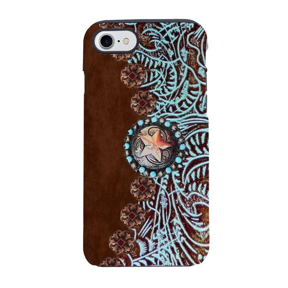Cafepress western turquoise tooled leath iphone 7 tough