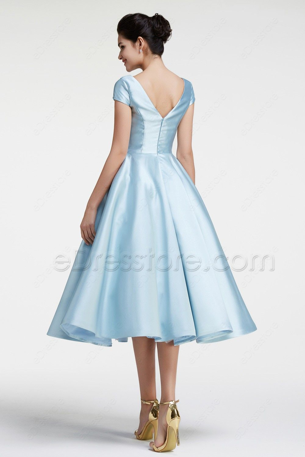 1c3459a77b58 The ice blue prom dress is made of twill satin fabric, ball gown skirt  looks vintage and elegant, modest top with sleeves, tea length skirt with  embroidery.