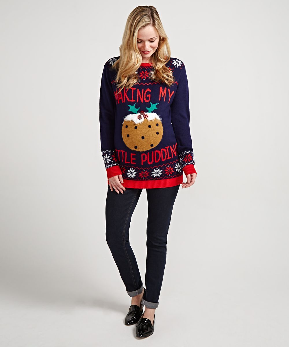 maternity christmas pudding jumper
