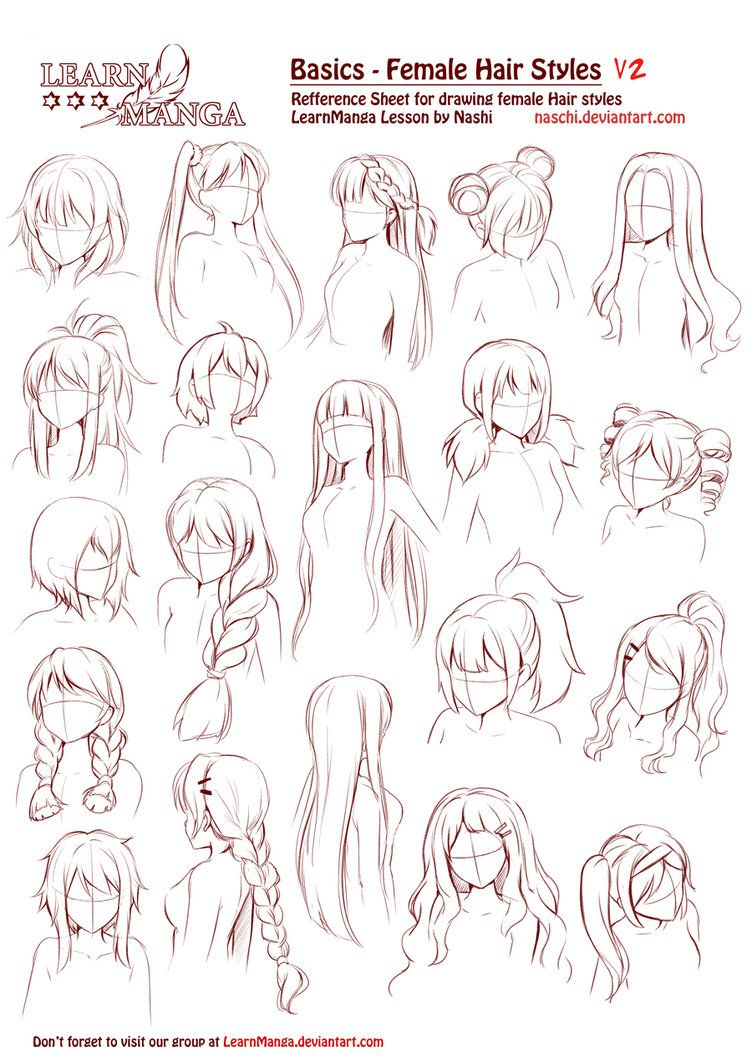 Learn Manga Basics Female Hair Styles V2 Anime Drawings Tutorials Sketches Manga Hair