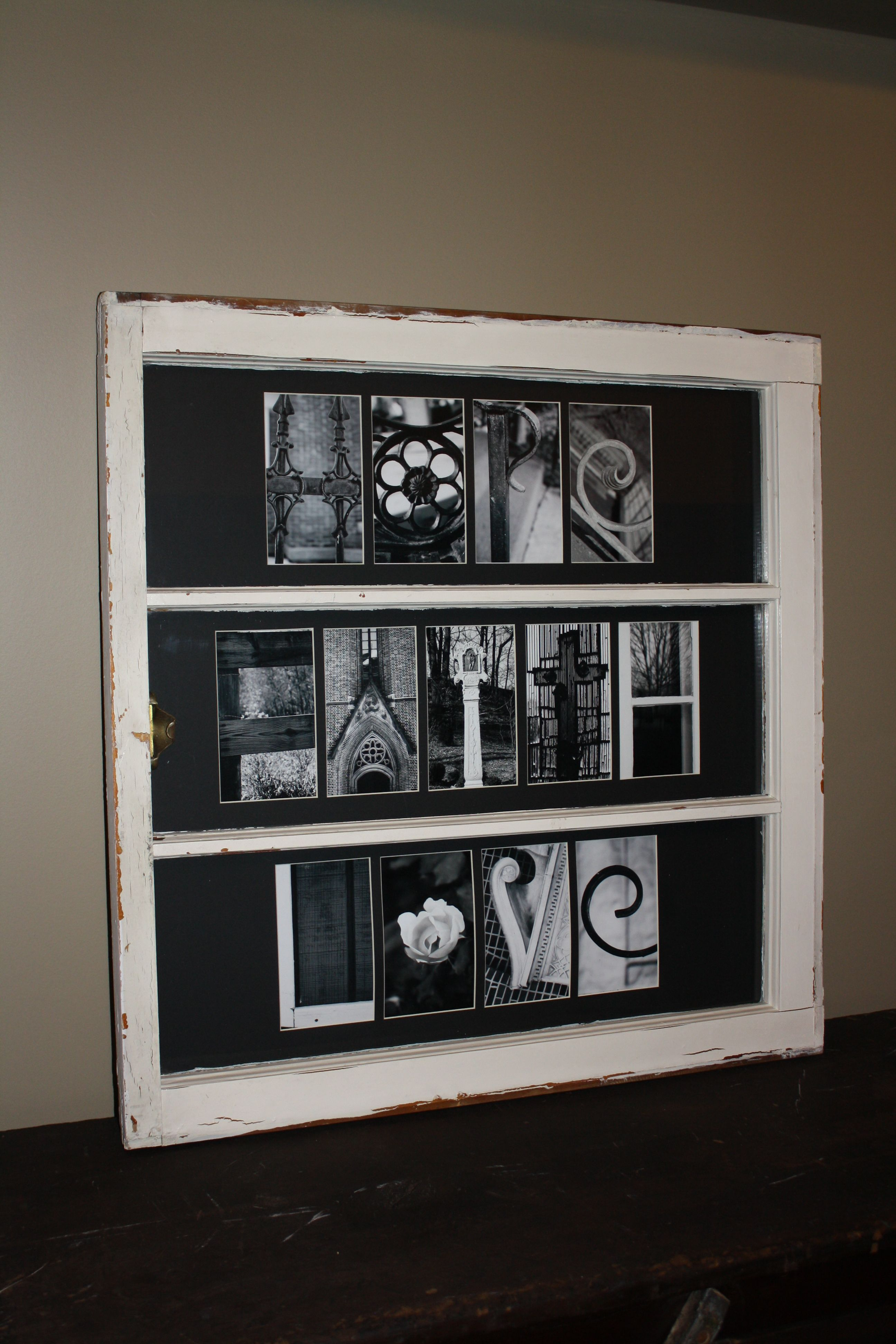 I used an old window to make a frame for my letter art check out i used an old window to make a frame for my letter art check out jeuxipadfo Gallery