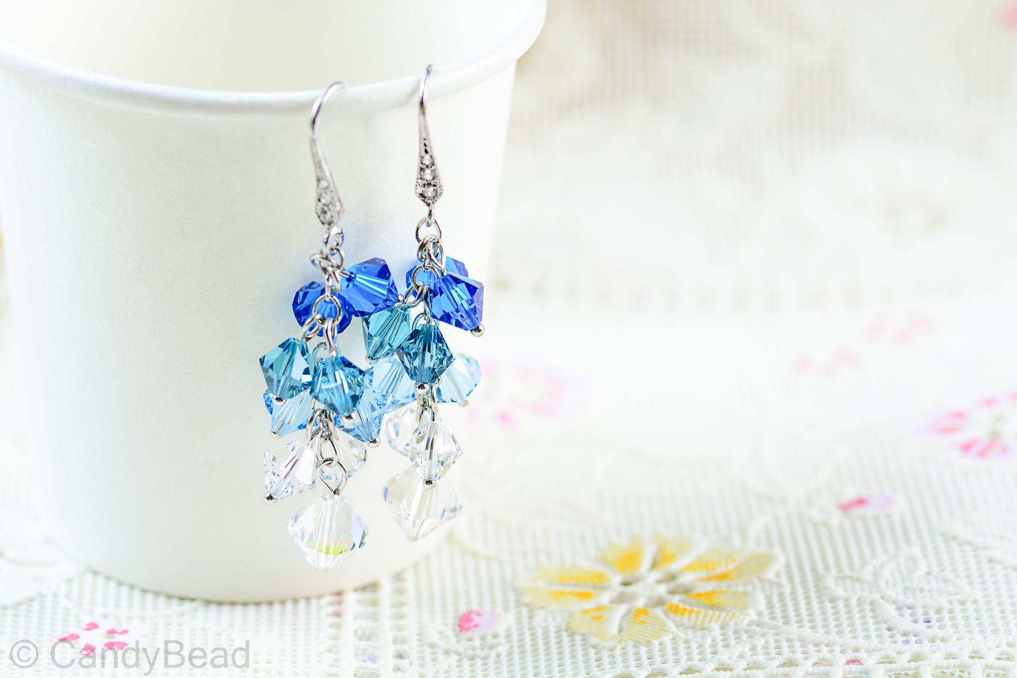 cd412c863 Swarovski earrings;crystal earrings; Blue Aquamarine Swarovski Crystal by  CandyBead by candybead, $15.19 USD