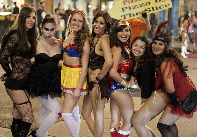 Girls wearing sexy halloween costumes