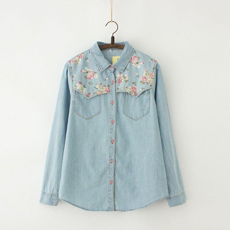 12.70 USD (AliExpress). Women Denim Shirt Chemise Jean's Femme Floral Jeans Blouse Long Sleeve Plus Size Blusa Casual Tops Camisa Vetements.