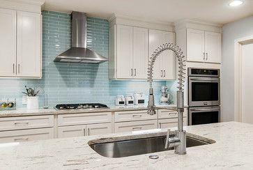 White shaker cabinets gray granite colorful glass tile backsplash such  clean look also