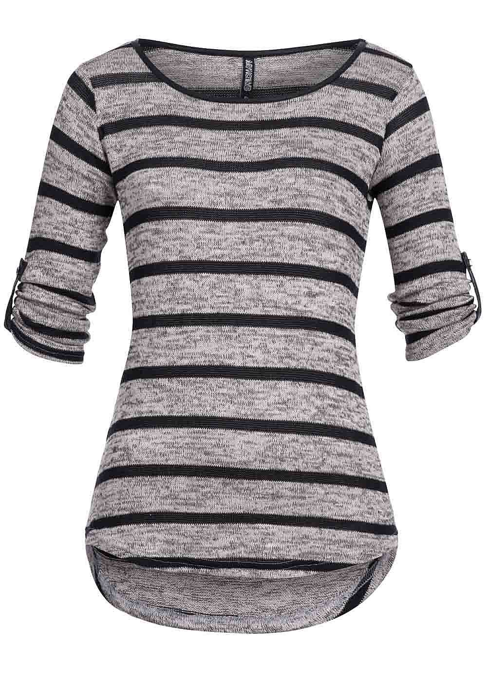 15be0150dbcd85 Hailys Damen Sweater gestreift 3 4 Turn-Up Ärmel grau melange schwarz -  77onlineshop