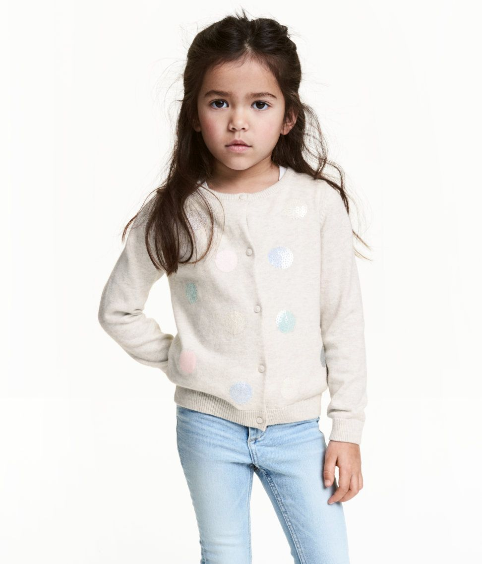 Check this out! Fine-knit cardigan in soft cotton fabric. Sequined embroidery at front, buttons at front, and ribbing at neckline, cuffs, and hem. - Visit hm.com to see more.