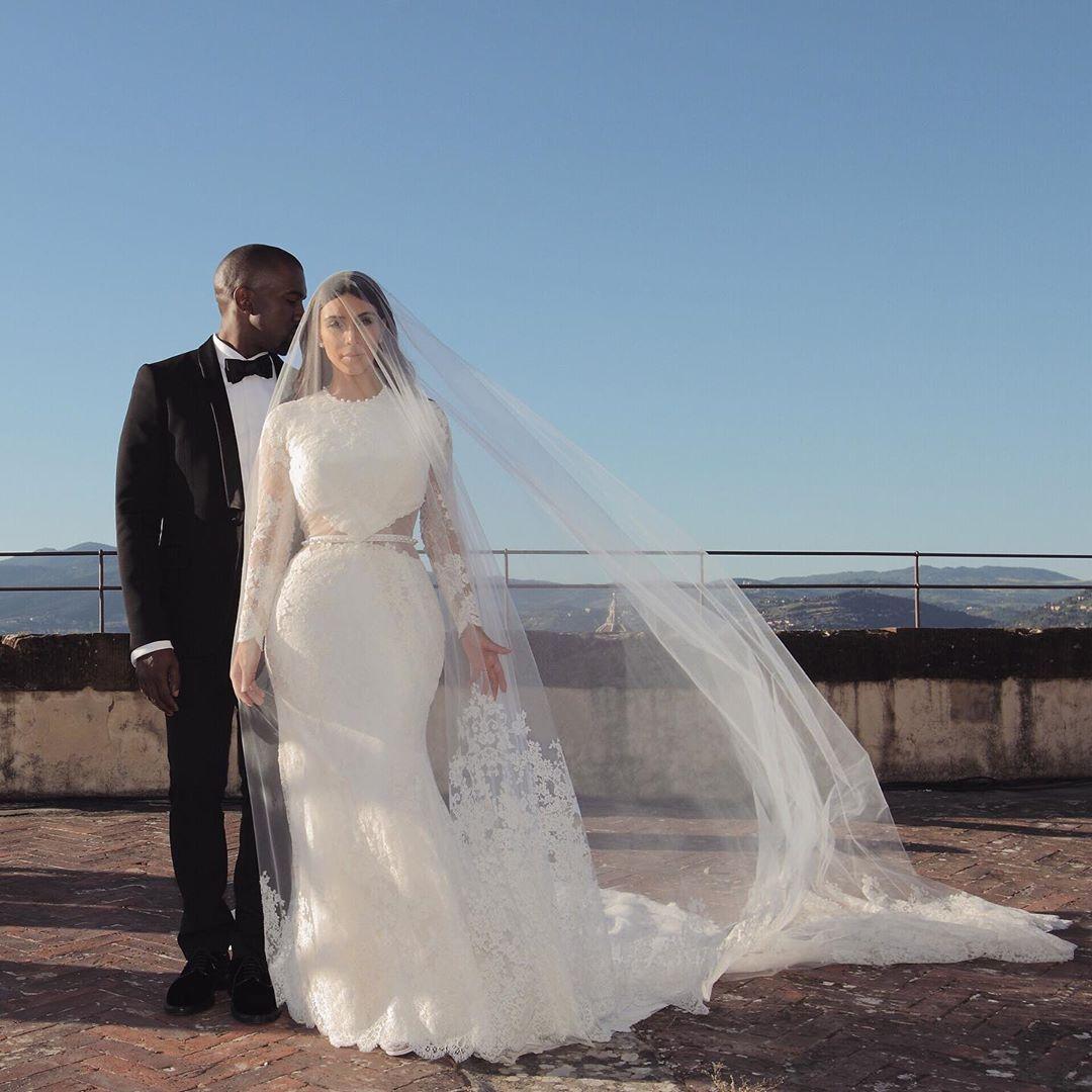Photo of Kim Kardashian Lace Mermaid Celebrity Wedding Dress