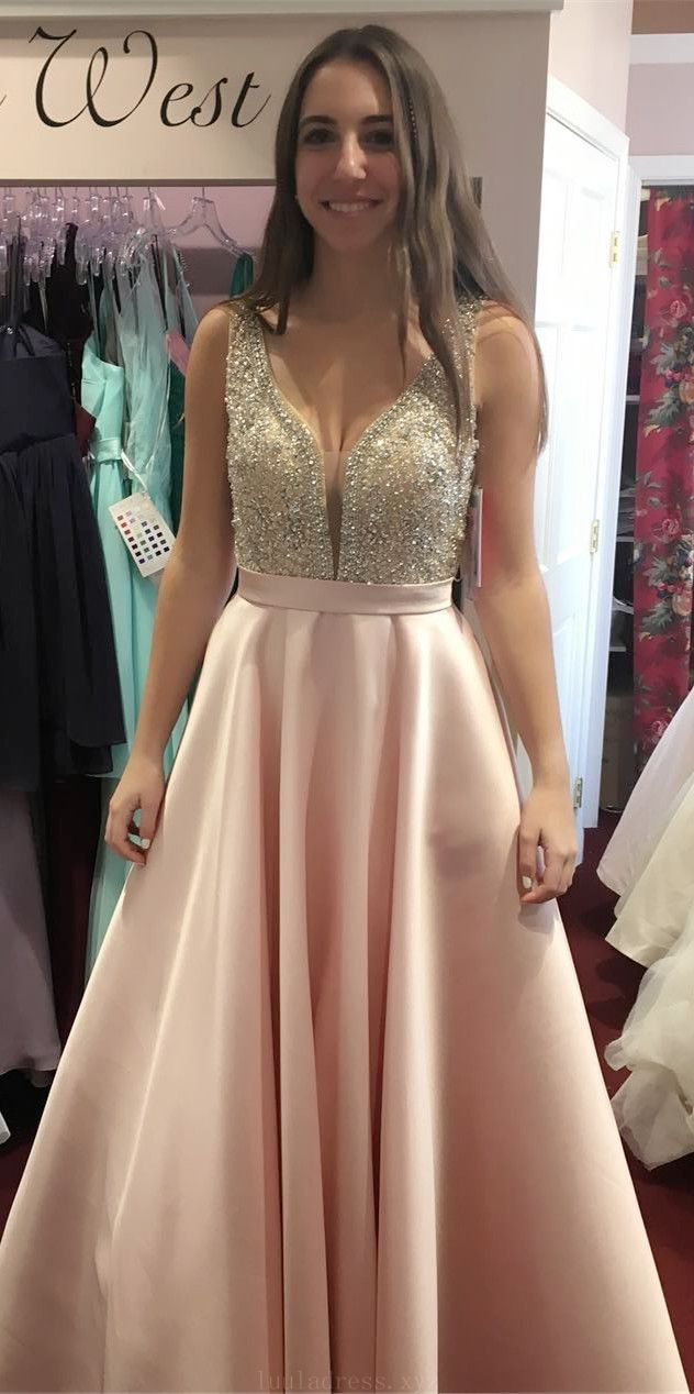 Fetching prom dresses sparkly beads pink long prom dress