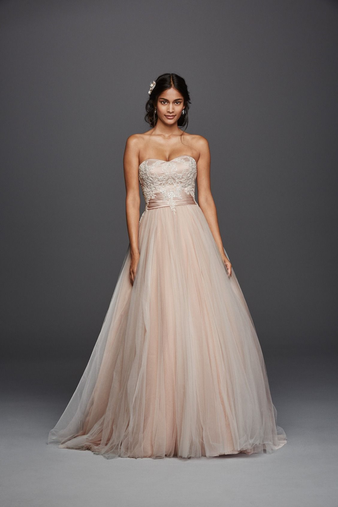 Jewel Strapless Tulle Beaded Lace Wedding Dress Style WG