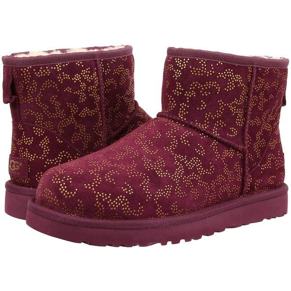 UGG Classic Mini Metallic Conifer Women's Boots, Pink ($123) ❤ liked on Polyvore