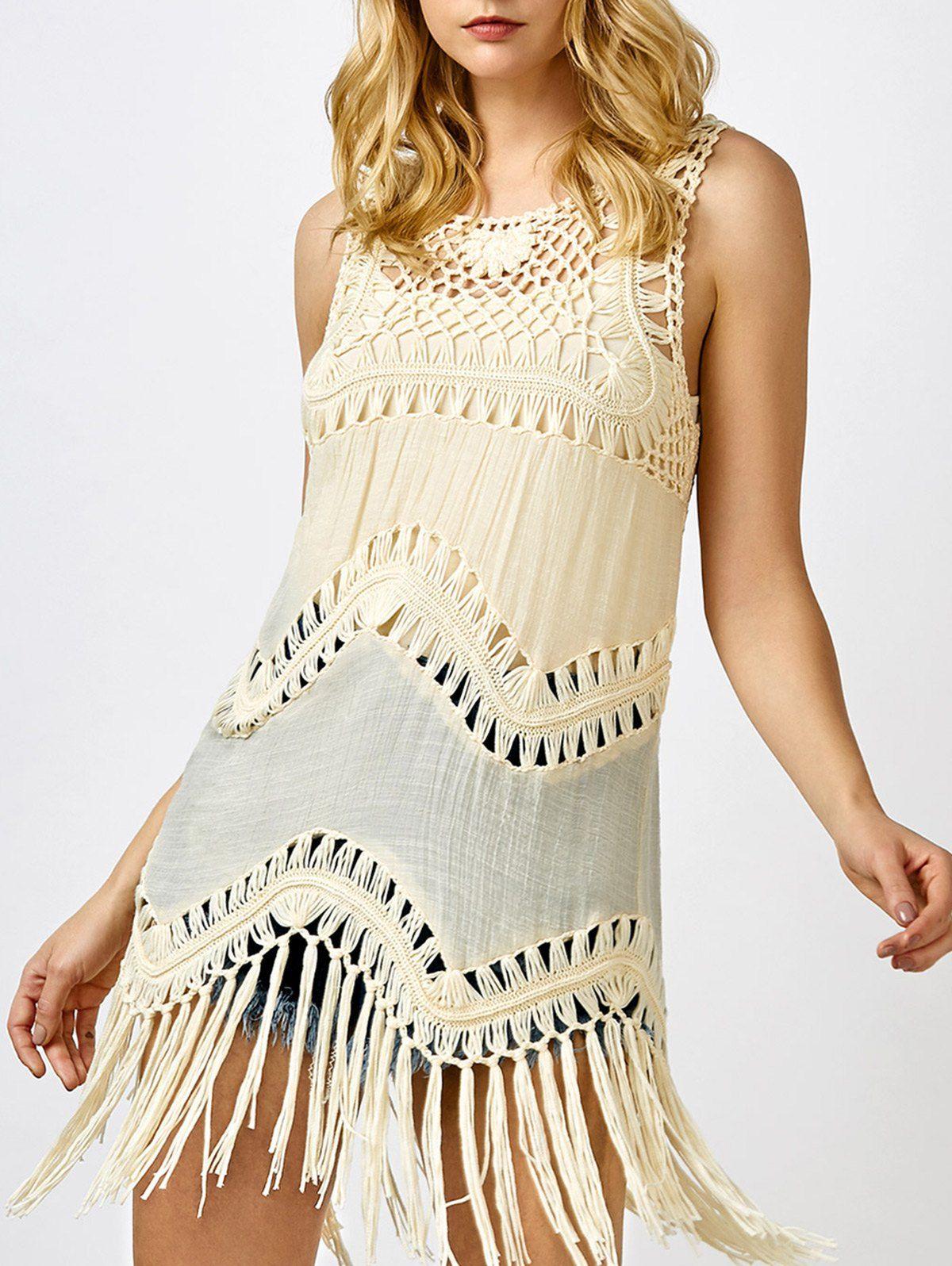 57038a4ac2 Crochet Sleeveless T-Shirt with Tassel | Refashioning | Crochet t ...
