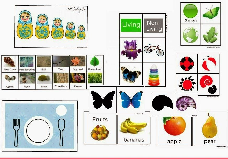 JOIN OUR NEWSLETTER HERE TO GET ACCESS TO FREE MONTESSORI PRINTABLES, INCLUDING BABY AND TODDLER MONTESSORI INSPIRED PRINTABLES. Toddler Pack Contains: Black / white & black/white/red infant cards.  Table Setting Placemat for meal time.  Russian Doll sorting activity.  Book of Colours.  Living / Non-Living sorting cards.  Nature Scavenger Hunt. Number Set. Book of Fruits. Silhouette …