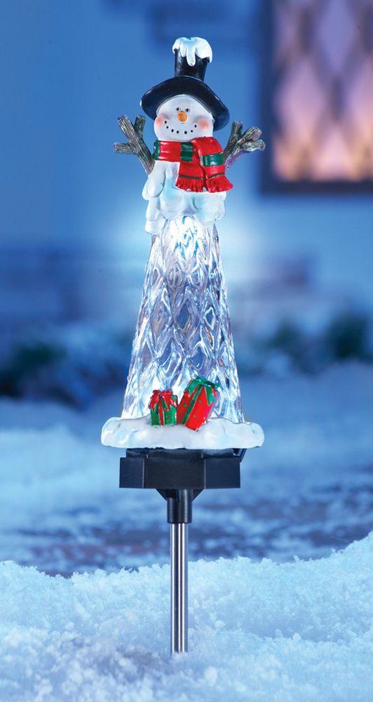 outdoor solar powered snowman garden stake ice icicle yard decor christmas 185 - Solar Powered Christmas Yard Decorations