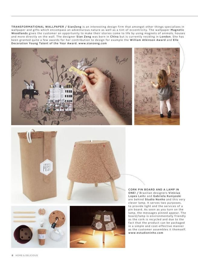Magnetic wallpaper and cork light/noteboard via home and delicious