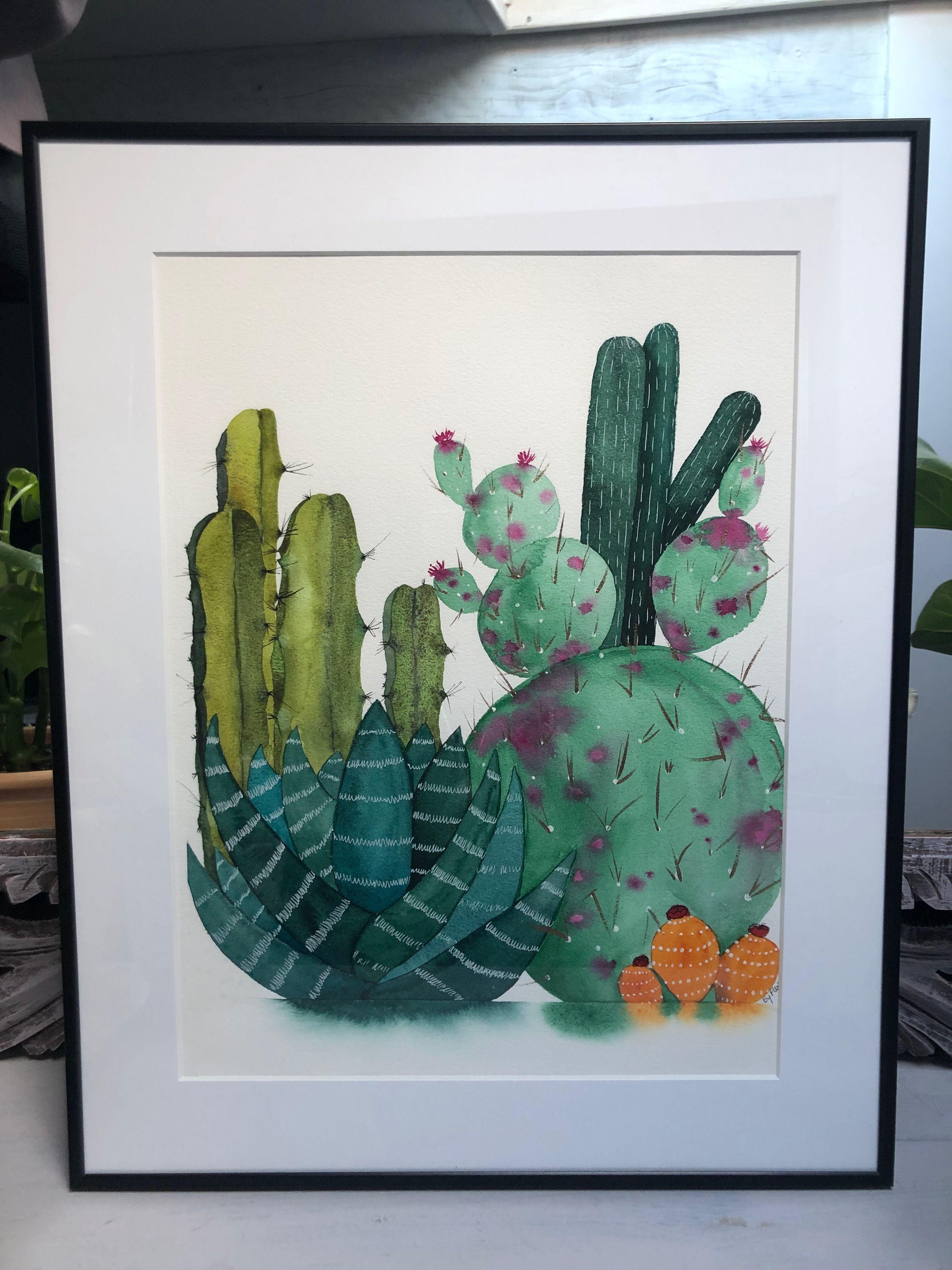 Cactus Grand Format 1 Aquarelle Aquarelle