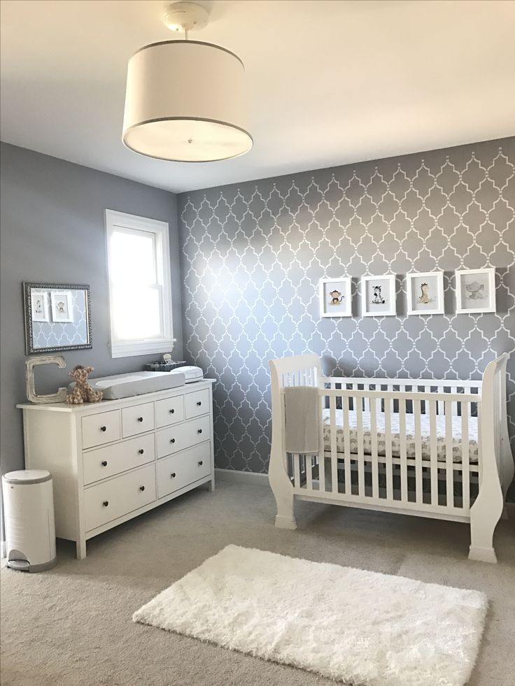 Gender neutral nursery, gray and white nursery, wall stenciling