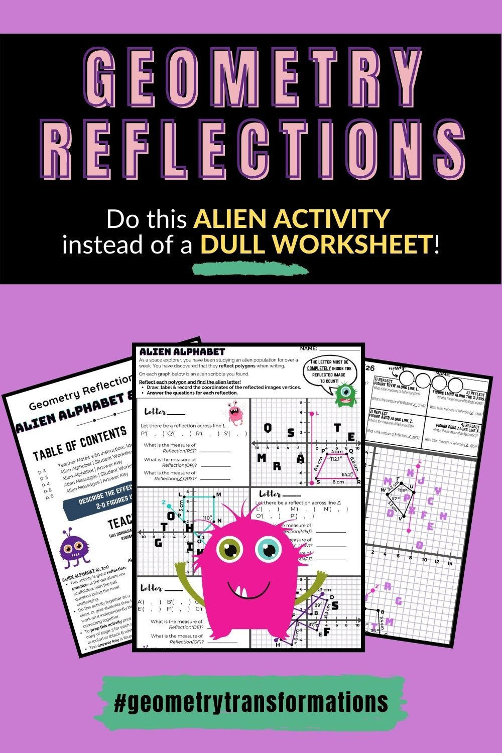 Geometry Transformations Reflection Activity For Middle School Reflection Activities Maths Activities Middle School Geometry Activities High School