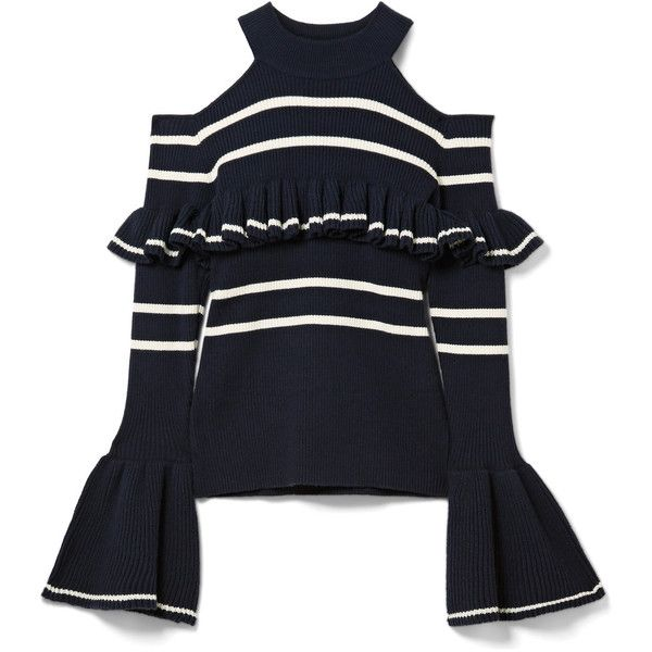 2efbbdae8c5f Self-Portrait Cold-shoulder striped cotton-blend sweater ($340) ❤ liked on  Polyvore featuring tops, sweaters, self-portrait, midnight blue, ruffle cold  ...