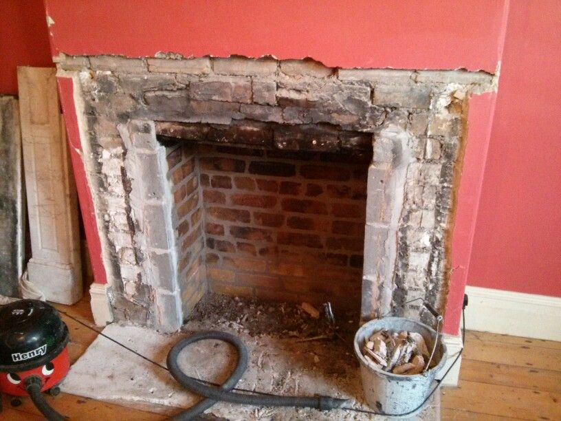 Marble Surround Removed Bricks Repointed Polished Hearth Gone