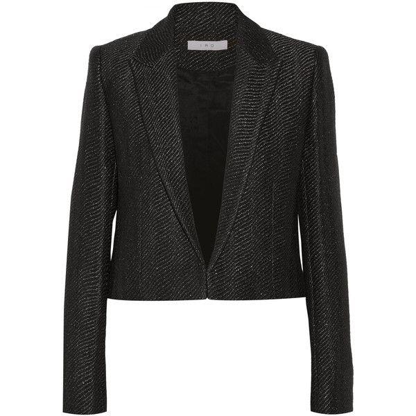 IRO Toni cropped metallic wool-blend blazer ($200) ❤ liked on Polyvore  featuring