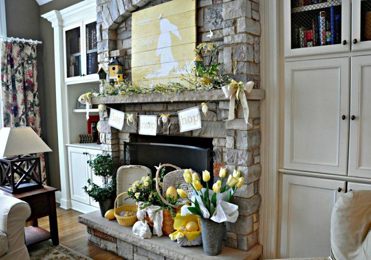 Chimeneas modernas y decoradas con motivos primaverales