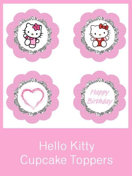diy free hello kitty cupcake toppers | free birthday party, Invitation templates