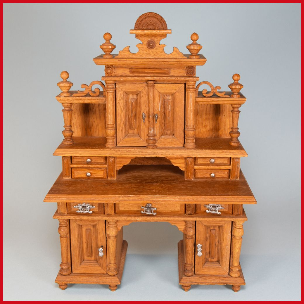 Antique German Oak Secretary Desk 1870s 1880s Large 1 Scale