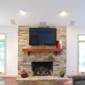 Exterior Traditional Family Room In Fireplace Design Ideas With