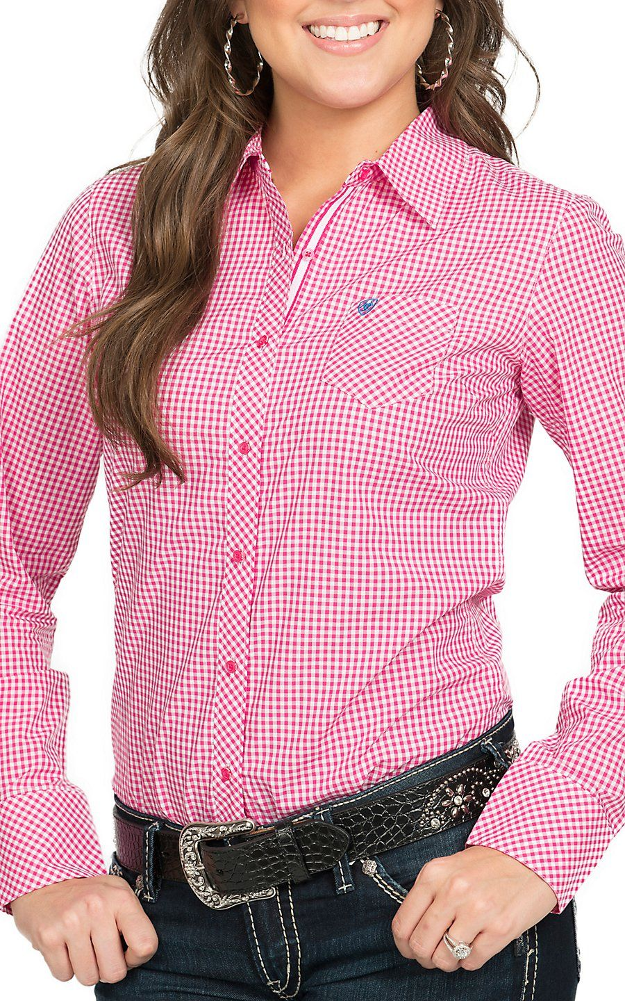 Ariat Women 39 S Kirby Pink White Gingham Plaid Long Sleeve