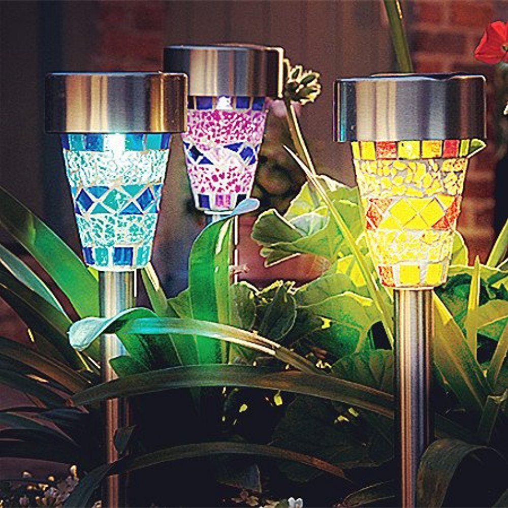 Solar Path Light Mosaic Outdoor Lighting Lamp 3 Pack Garden Patio ...