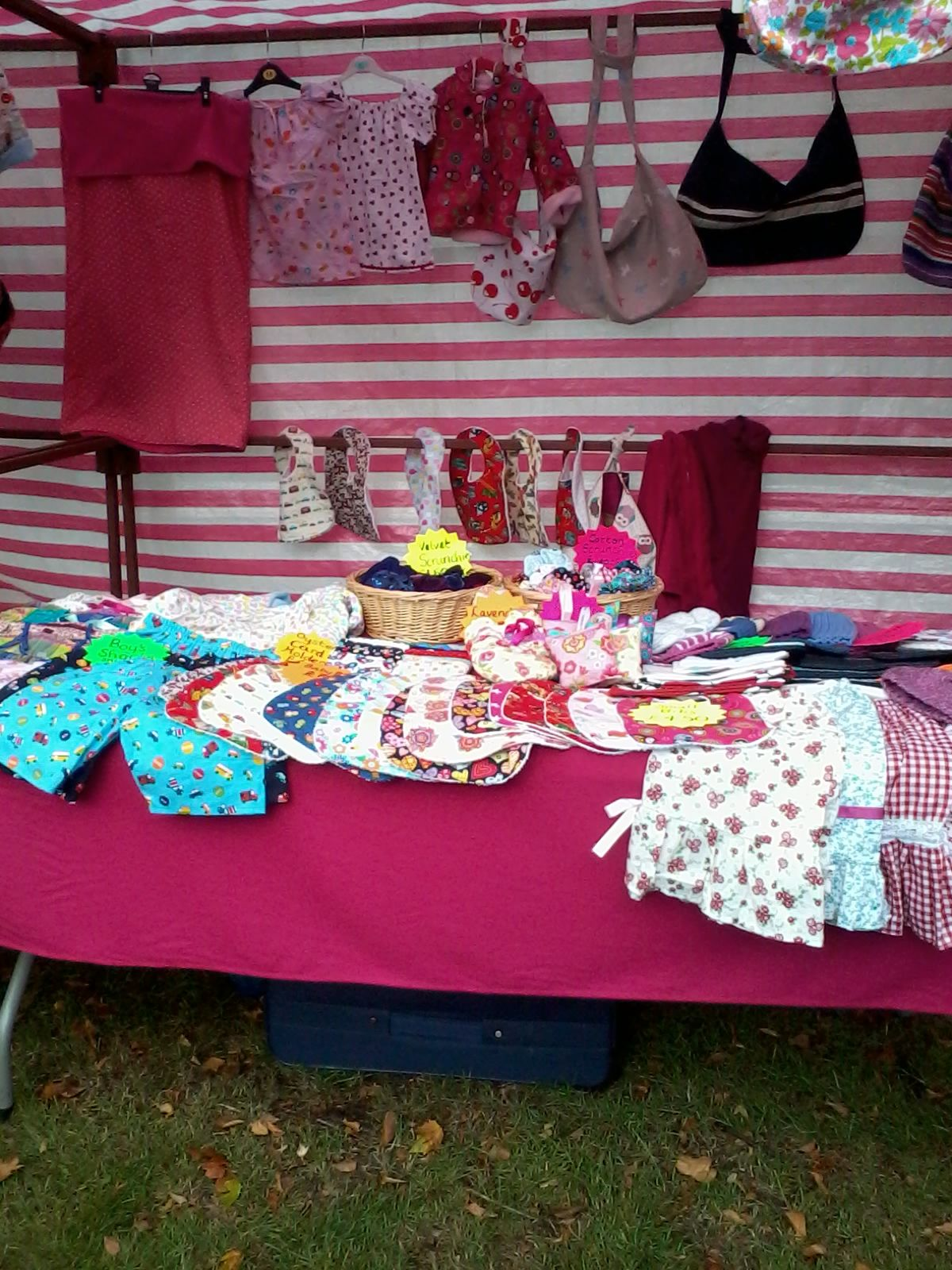 My Stall at Tulse Hill Market selling children's clothing