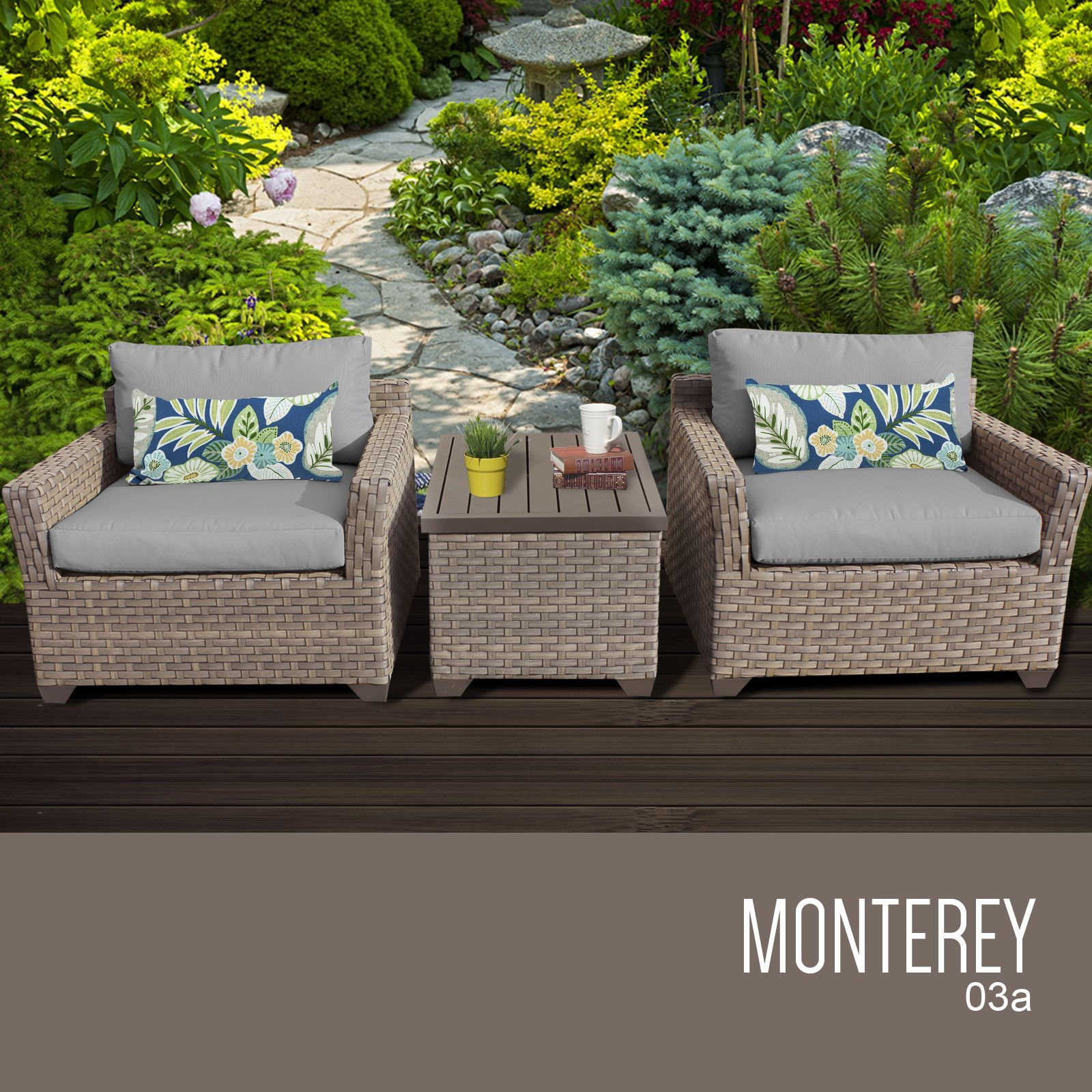 Monterey 3 Piece Outdoor Wicker Patio Furniture Set 03a at