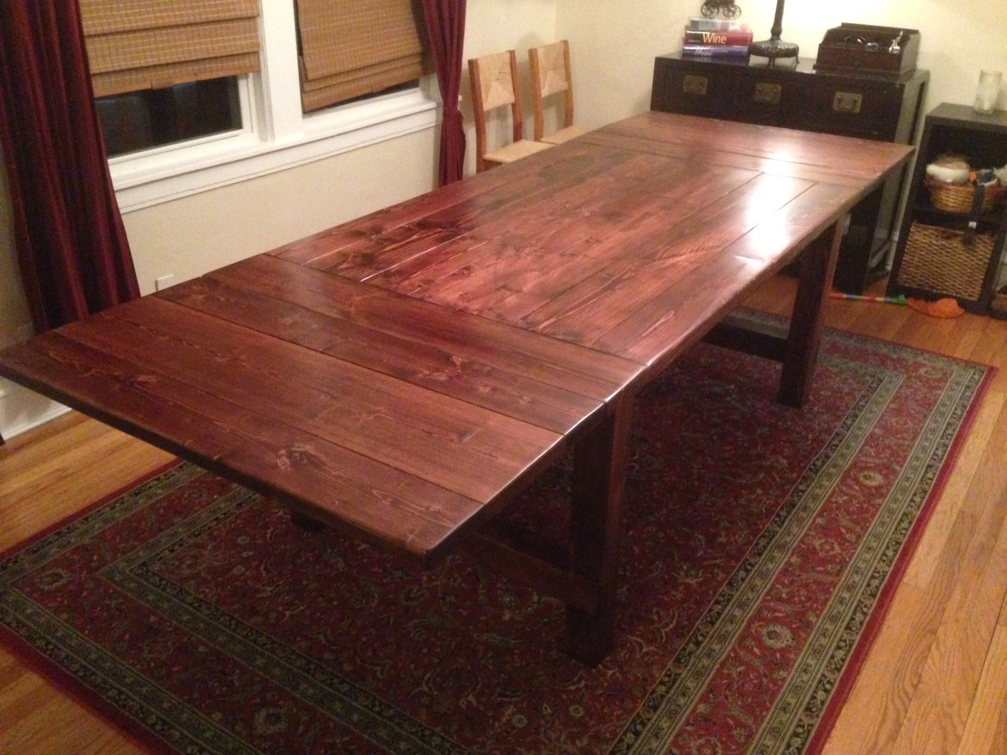 Modified farmhouse table with extensions Do It Yourself