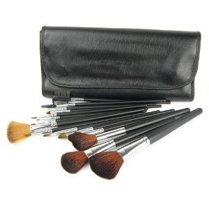 15 PCS Professional Makeup Cosmetic Brushes set Kit Case by Eshow. $15.29. Brush handle color: Black. Brush bristle color: Black/Brown. Bag color: Black. Material: Goat hair, aluminum, wood, and PU. Total 15 brushes for facial makeup: Foundation Brush, Concealer Brush, Eyeshadow Brush,Eyeliner Brush,Eyebrow Brush, Blush Brush, Lip Brush, Mascara Brush... Adopts natural pure goat hair which provides superb ability to hold powerder, soft and pleasing for your skin. Gorgeous purple...