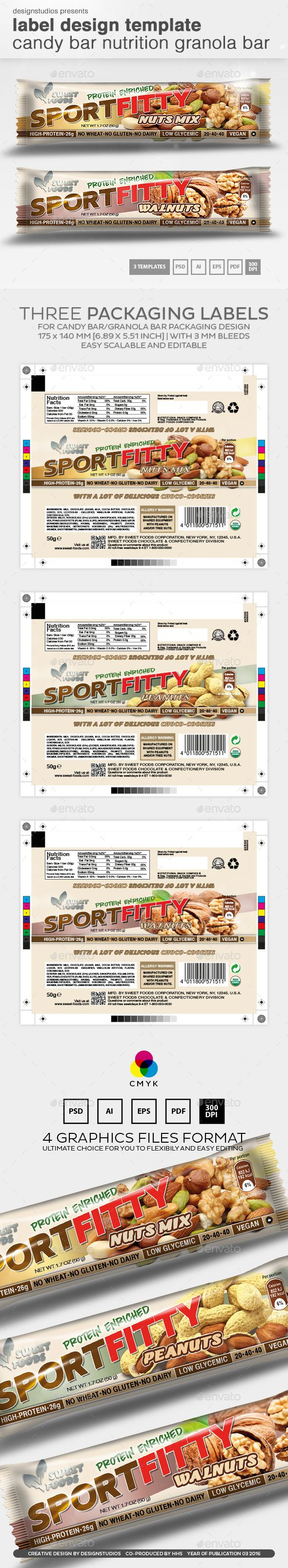 Label Design Template Candy Bar Nutrition Granola Bar – Package Label Template