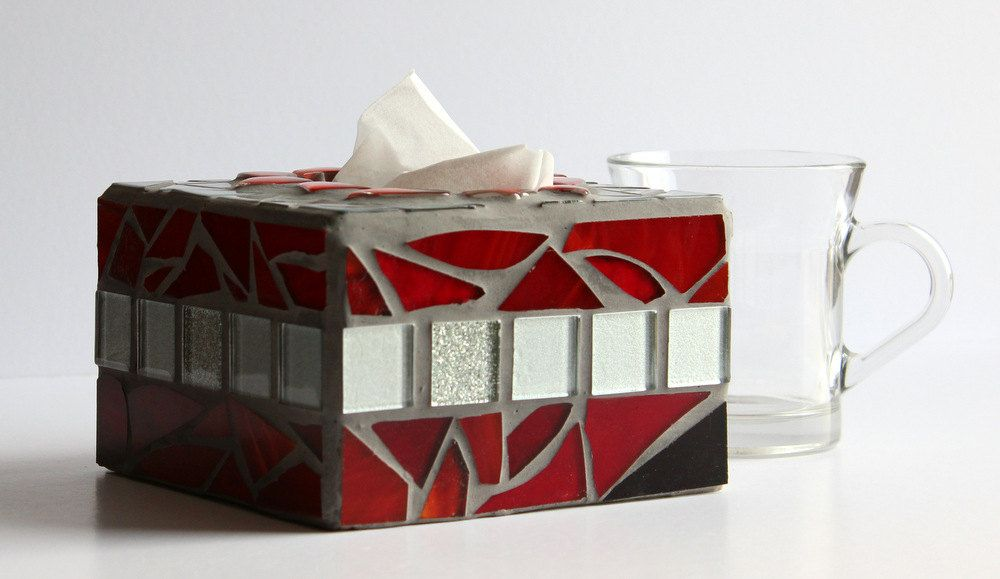 Decorative Tissue Box Cover Colorful Wooden Decorated Glass Mosaicwood Tissue Box Cover