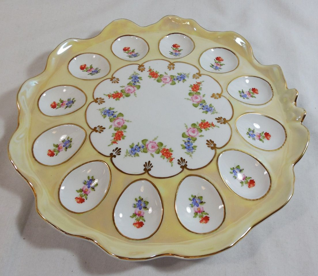 Easter ceramic dishes   Ceramic Easter Deviled Egg Serving Platter Dish Plate Holder Floral . & Easter ceramic dishes   Ceramic Easter Deviled Egg Serving Platter ...