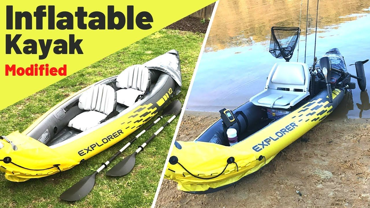 Cheap Inflatable Kayak Modified Into A Legit Fishing Kayak How To Make It Youtube In 2020 Inflatable Kayak Kayak Fishing Diy Kayaking
