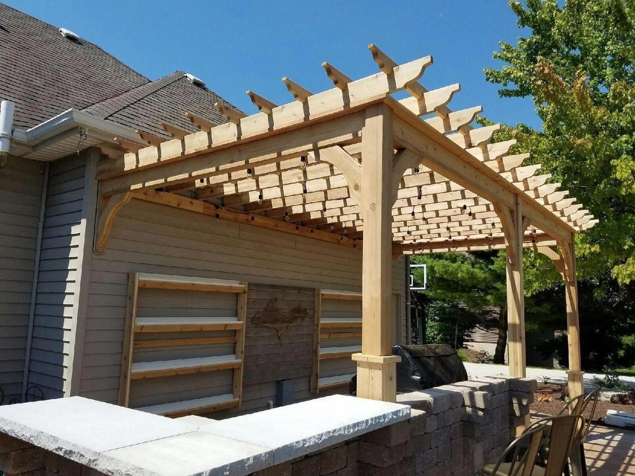 Terrasse Bois Et Fer serenity cedar pergola kit - wall mounted   pergola acier