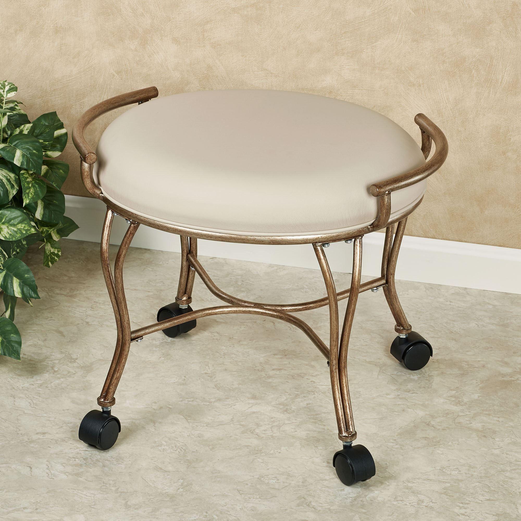Contessa golden bronze vanity stool with caster wheels in