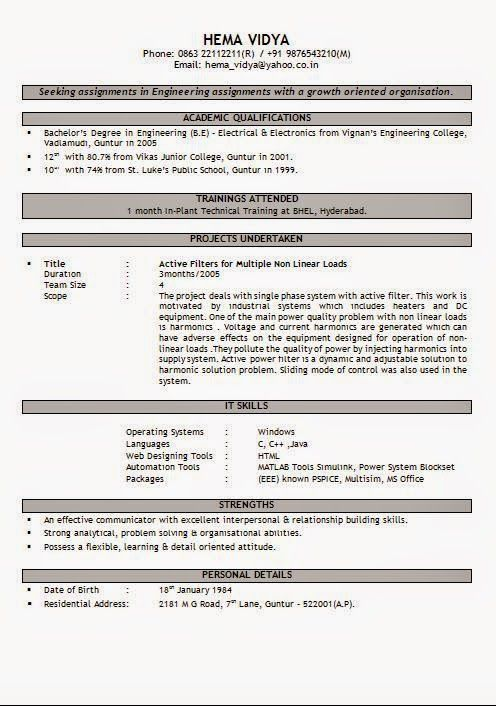 functional resume format Sample Template Example of ExcellentCV - resume format for electrical engineer