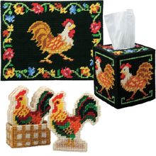 Herrschners Farmhouse Rooster Tissue Box Plastic Canvas Kit