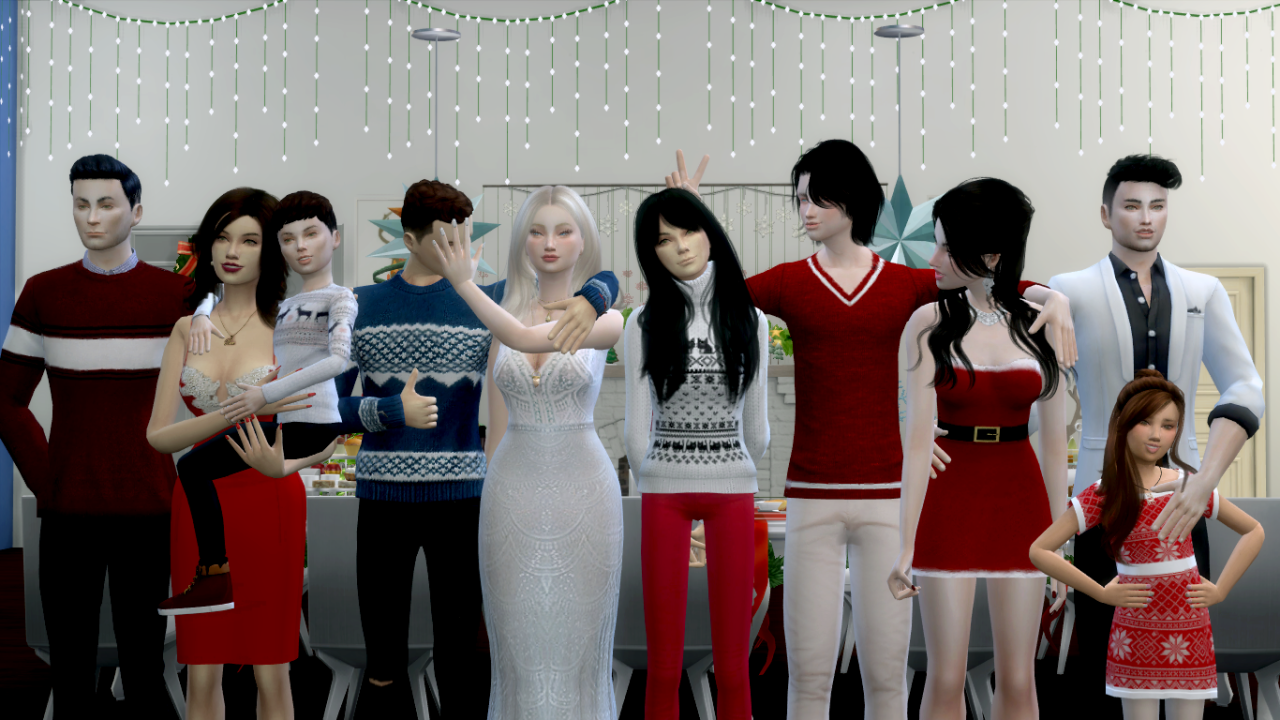 Big family pose pack • 4 poses one with 4 sims and three with