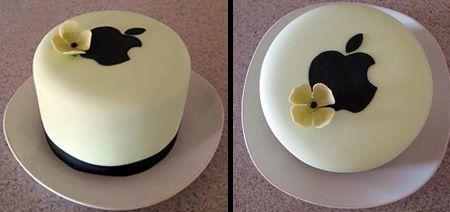 Apple Logo Wedding Cake.  Beautiful chocolate flavored wedding cake with an Apple logo.